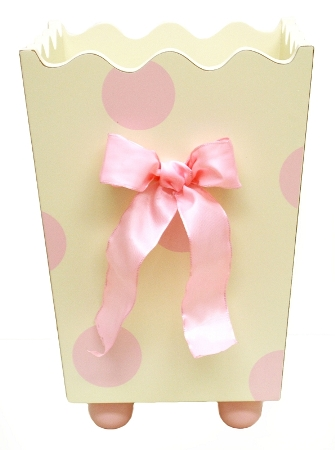 Pink Polka Dot Wastebasket
