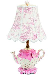 Toile Teapot Pink Lamp