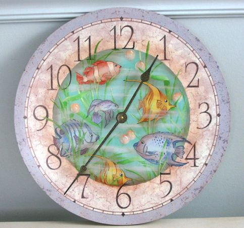 Hand Painted Fish Clock