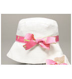 White Hat w/Palm Tree Ribbon