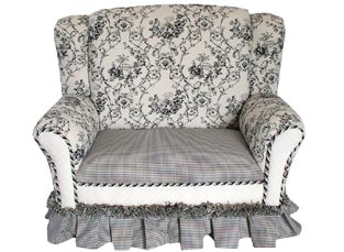 Child's Loveseat Wingback Chair Black Toile