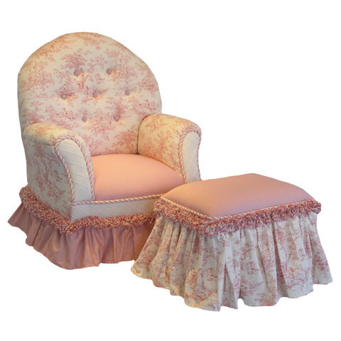 Child's Queen Anne Chair Pink Toile