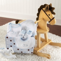 Rockabye Rocking Horse and layette Set, Blue