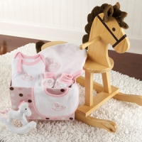Rockabye Baby Wooden Rocking horse, Toy, and Layette Set Pink