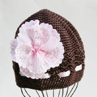 Chocolate Brown Velvet Flower Crochet Hat