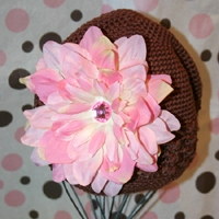 Chocolate/Pink Crochet Hat