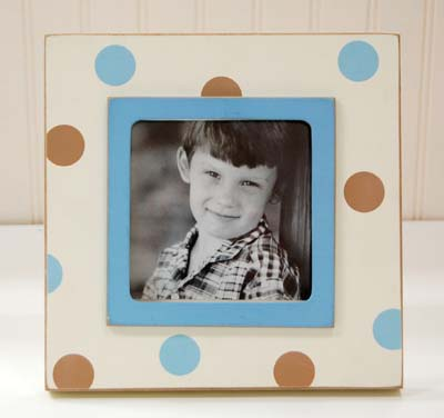 Blue & Brown Polka Dot Picture Frame