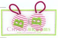 Pink/Lime Monogrammed Hair Tie