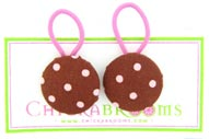 Brown with Pink Dot single large hair tie