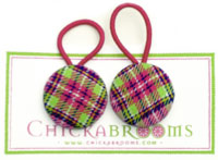 Green Pink Plaid Double hair Ties