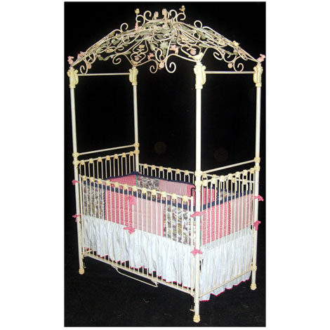 Scroll Canopy Iron Crib