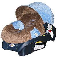 Minky Blue/Brown Car Seat Cover