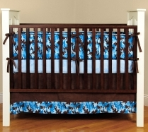 Blue Camoflauge Crib Bedding