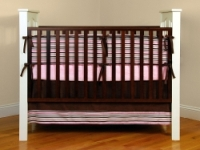 Pink and Brown Stripe Crib Bedding