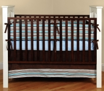 Aqua and Brown Crib Bedding