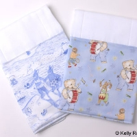 Burp Cloth Set Little Boys Make noise and Blue Beach Toile