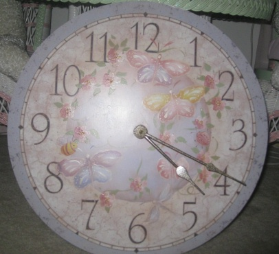 Hand Painted Blossom and Butterflies Clock