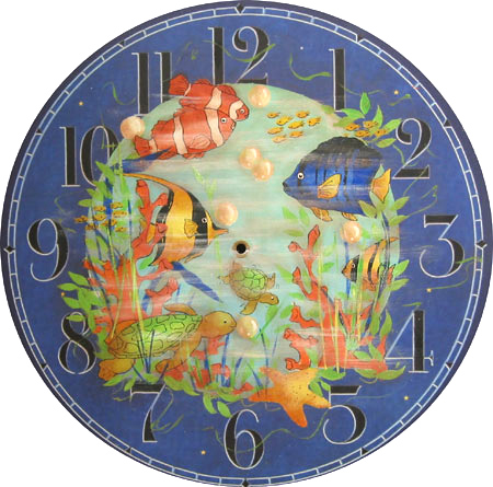 Hand Painted Cobalt Blue Fish Clock