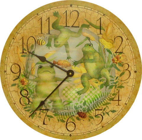 Hand Painted Froggy Clock