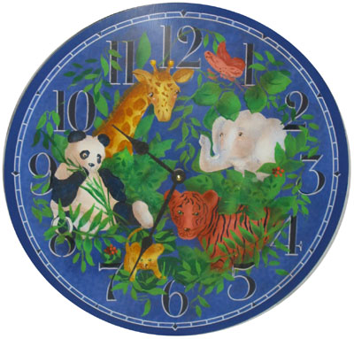Hand Painted Jungle Clock