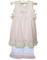 Flowers and Bugs Pink Dress and Pant Set