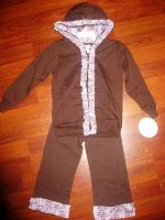 French Toile Purple/Brown Hoodie Set